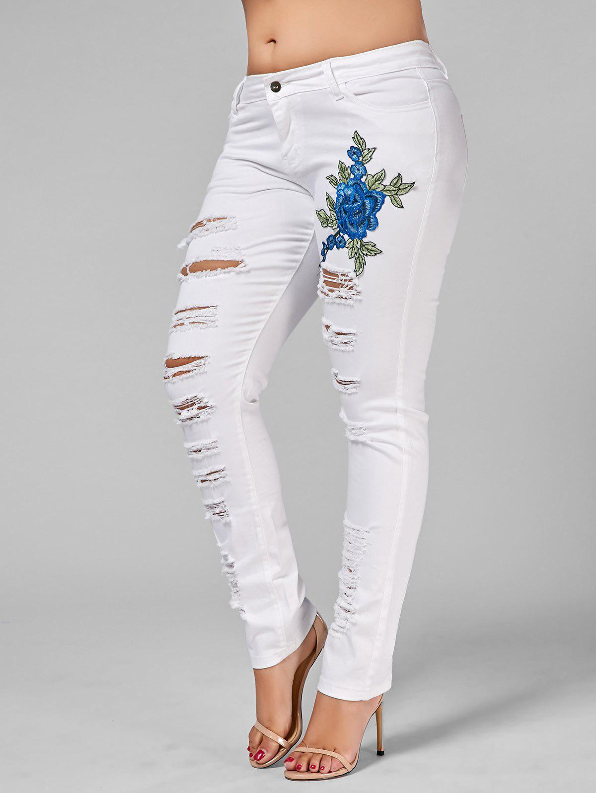 Plus Size Embroidered Ripped Skinny Jeans - WHITE 2XL