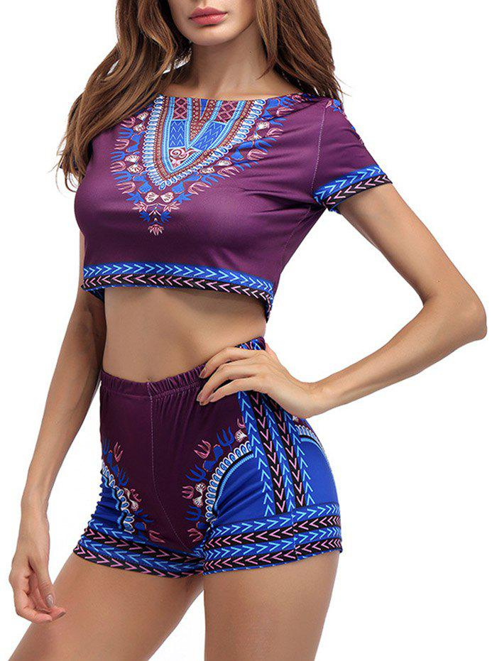 Printed Crop Top With High Waist Shorts - PURPLISH RED L