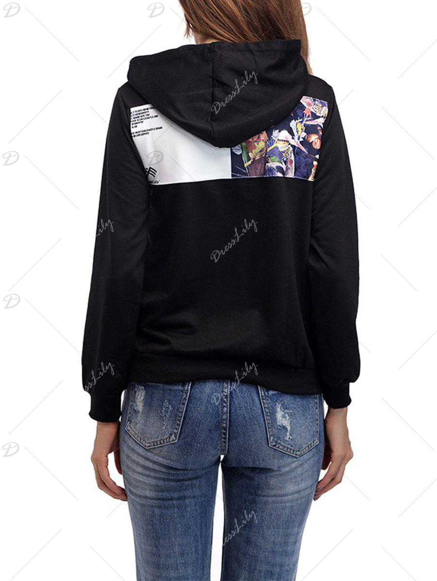 Drawstring Patch Graphic Hoodie - Noir Brillant S