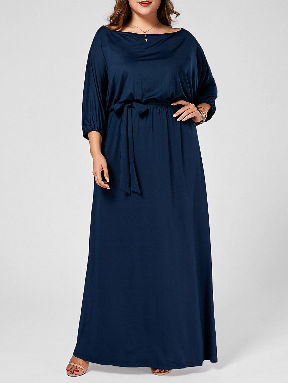 Plus Size Skew Neck Batwing Maxi Dress - PURPLISH BLUE 4XL