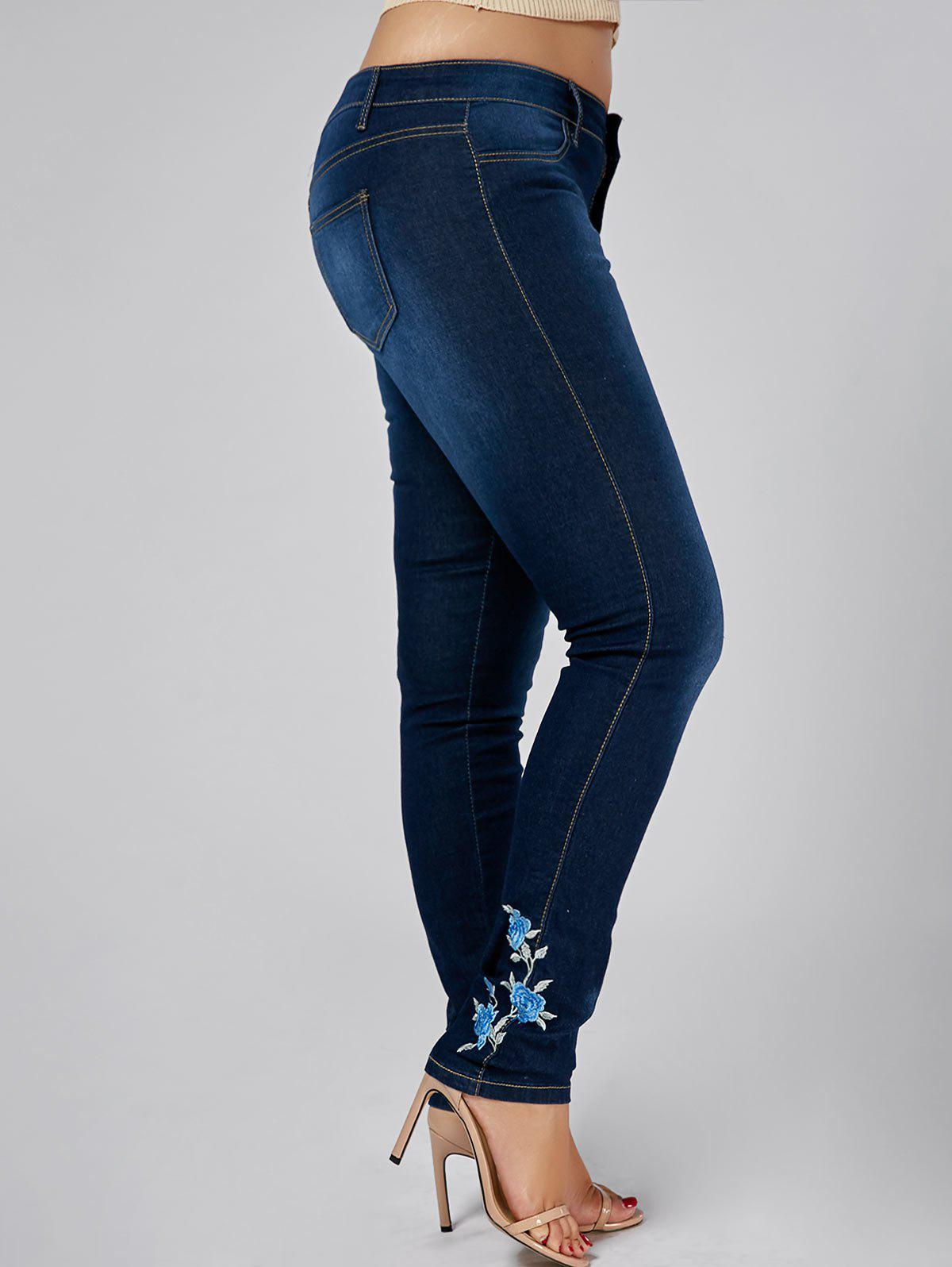 High Waist Plus Size Floral Embroidered Skinny Jeans - DENIM BLUE 3XL