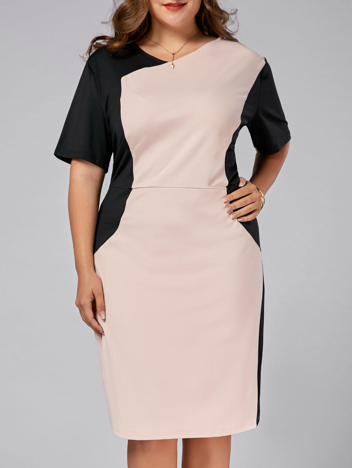 Plus Size Fitted Two Tone Dress - LIGHT PINK 7XL