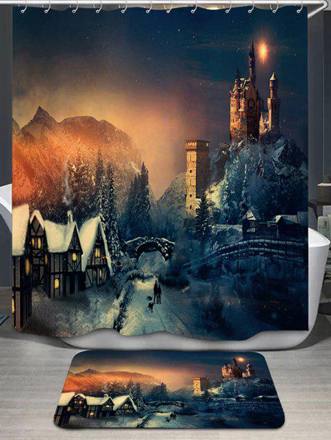 Fairy Tale Castle Printed Shower Curtain and Rug - COLORMIX