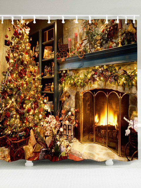 Fireplace Christmas.Christmas Fireplace Print Shower Curtain And Rug