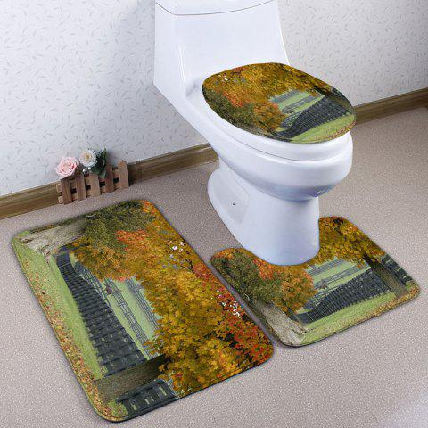 3Pcs/Set Flannel Autumn Pasture Print Bath Toilet Mat - YELLOW