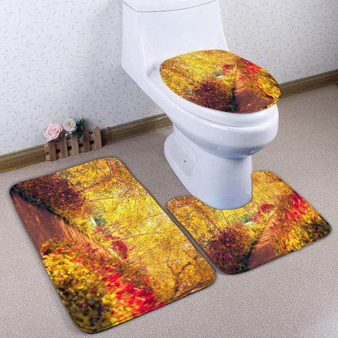 3Pcs/Set  Flannel Autumn Path Print Bath Toilet Mat - YELLOW
