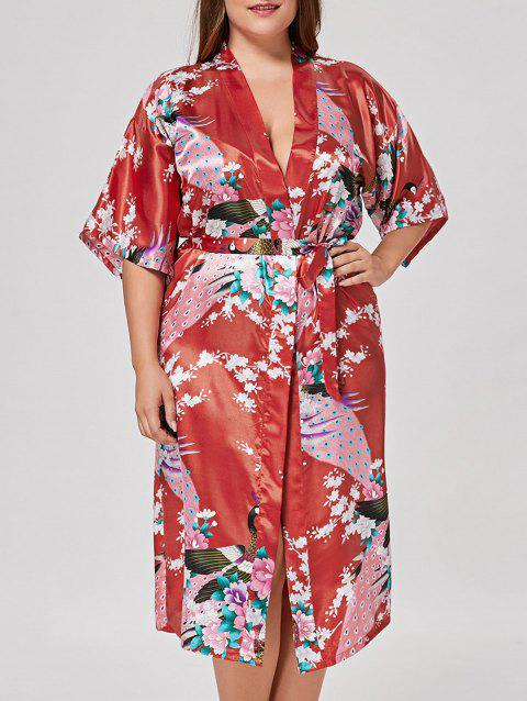 Plus Size Longline Satin Pajama Kimono - BRIGHT RED M