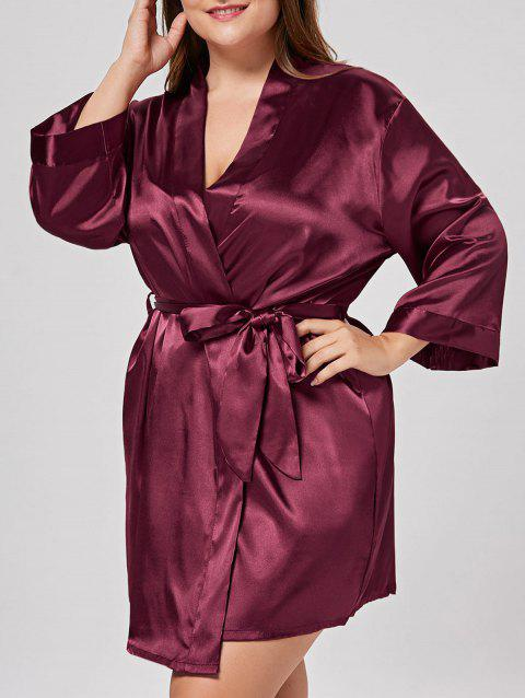 6f08945beaf LIMITED OFFER  2019 Plus Size Satin Sleepwear Kimono In WINE RED ONE ...