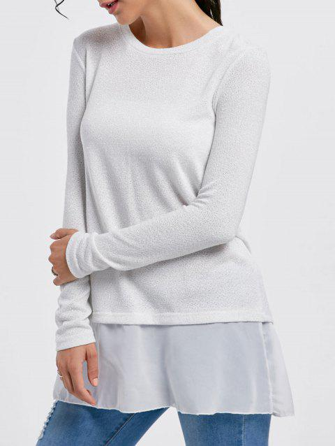 Stylish Scoop Neck Long Sleeve Sequined Chiffon Spliced Women's Sweater - WHITE XL