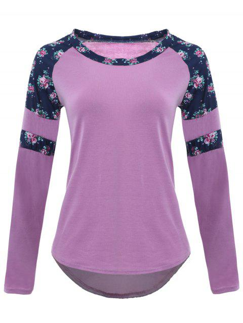 Raglan Sleeve Floral Print High Low T-shirt - LIGHT PURPLE 2XL