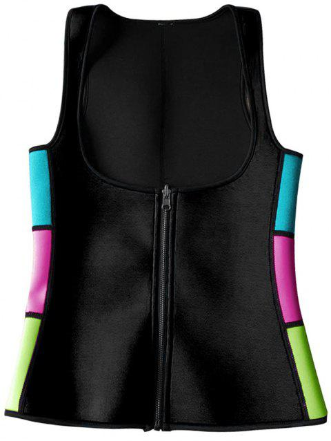 Color Block Underbust Neoprene Corset Vest - BLACK L