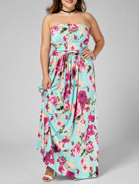 Floor Length Floral Plus Size Strapless Dress - multicolor 2XL