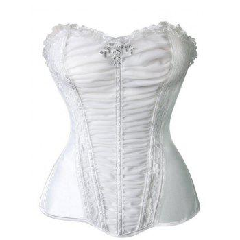 Ruched Mesh Insert Corset Top