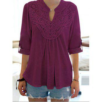 Floral Lace Panel Half Sleeve Blouse