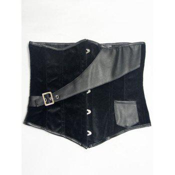 Faux Leather Panel Velvet Waist Corset