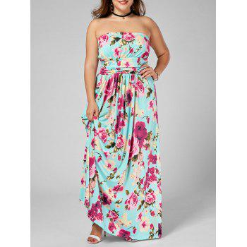 Floor Length Floral Plus Size Strapless Dress