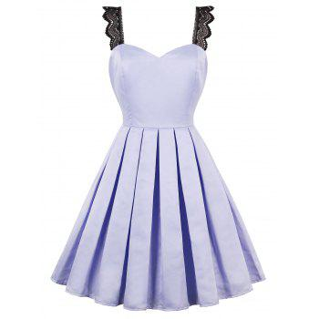 Faux Satin 50s Swing Dress with Lace Straps