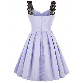 Faux Satin 50s Swing Dress with Lace Straps - LAVENDER FROST 2XL