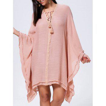 Oversized Batwing Sleeve Lace Up Kaftan Dress - CAMEO L