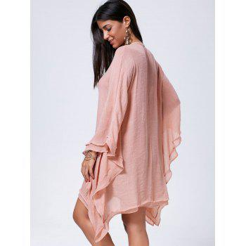Oversized Batwing Sleeve Lace Up Kaftan Dress - L L