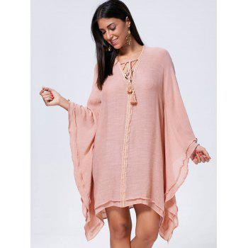 Oversized Batwing Sleeve Lace Up Kaftan Dress - S S