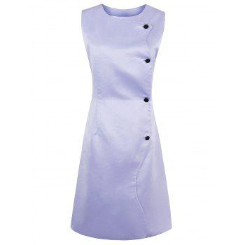 Button Up A Line Sleeveless Dress - LAVENDER FROST S