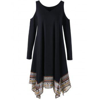 Cold Shoulder Handkerchief Dress - BLACK BLACK