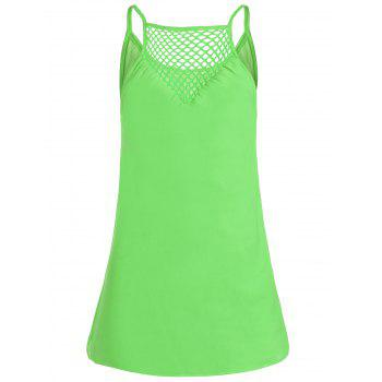 Chiffon Spaghetti Strap Mini Shift Dress - NEON GREEN XL