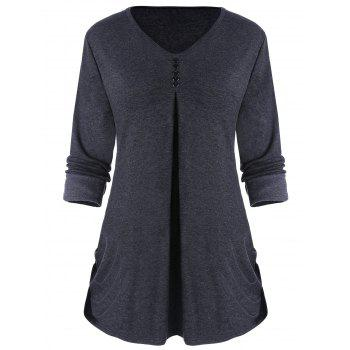 Side Ruched V Neck Top with Buttons