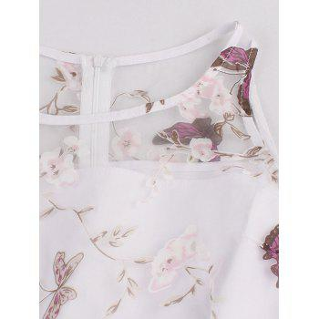 Floral Butterfly Print Organza Fit and Flare Dress - WHITE 2XL
