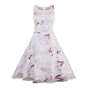 Floral Butterfly Print Organza Fit and Flare Dress