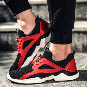 String Breathable Stretch Fabric Athletic Shoes - RED/BLACK 43