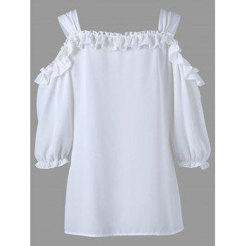 Cold Shoulder Ruffle Tunic Blouse - WHITE 2XL