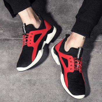 String Breathable Stretch Fabric Athletic Shoes - RED/BLACK RED/BLACK