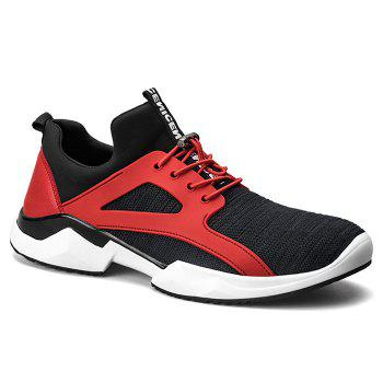 String Breathable Stretch Fabric Athletic Shoes - RED WITH BLACK 42