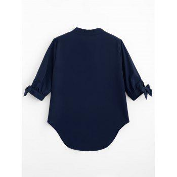 High Low Tied Sleeve Blouse - DEEP BLUE XL