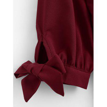 High Low Tied Sleeve Blouse - DEEP RED S