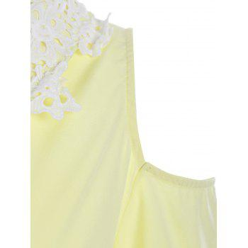 Cold Shoulder Flounce Lace Insert Dress - YELLOW S