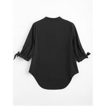 High Low Tied Sleeve Blouse - BLACK XL