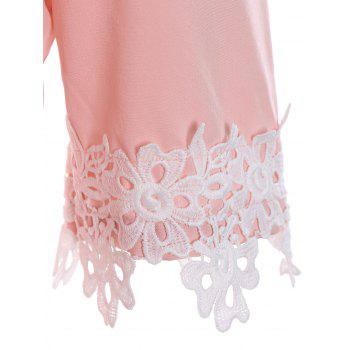 Cold Shoulder Flounce Lace Insert Dress - PINK S