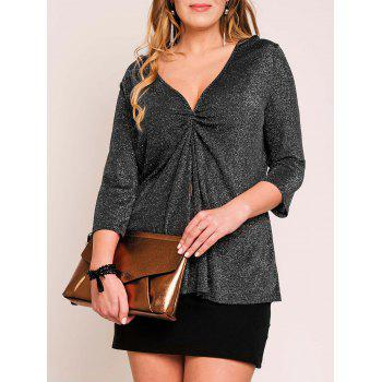 Plus Size Ruched V Neck Metal Top