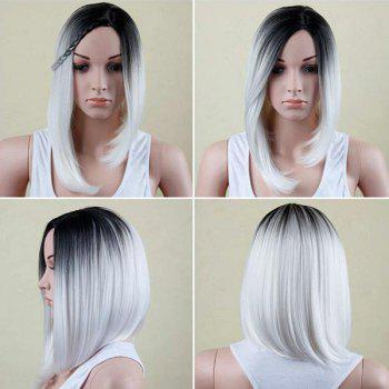 Medium Colormix Side Part Asymmetric Straight Bob Synthetic Wig