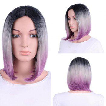 Short Center Parting Straight Bob Colormix Synthetic Wig