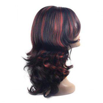 Long Center Parting Highlight Wavy Synthetic Wig - COLORMIX