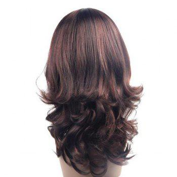 Long Middle Part Layered Wavy Synthetic Wig - BROWN