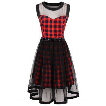 Sheer Yarn Insert Tartan Print Flared Dress - RED S