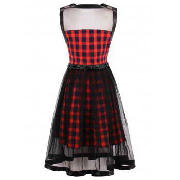 Sheer Yarn Insert Tartan Print Flared Dress - S S