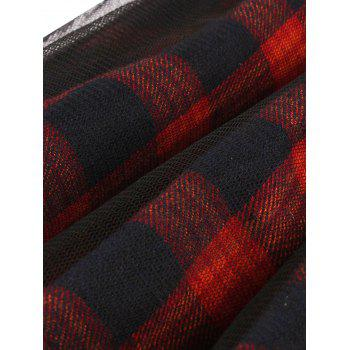 Sheer Yarn Insert Tartan Print Flared Dress - RED RED