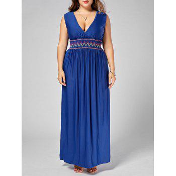 Embroidered Plus Size Plunging Neck Maxi Evening Dress