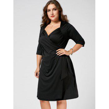 Plus Size A Line Wrap Dress - BLACK 4XL